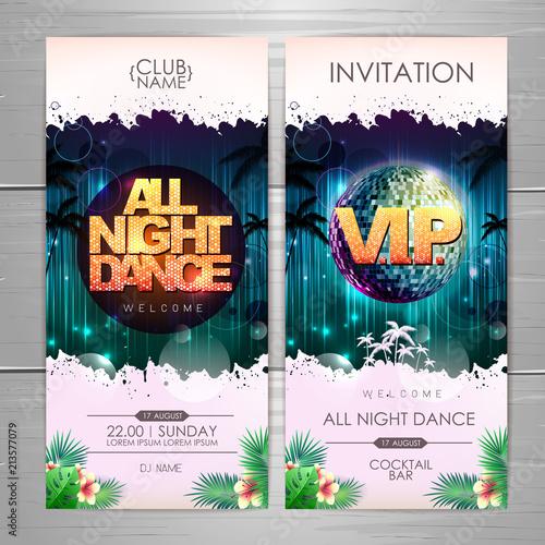Summer party poster design. All night dance invitation design © annbozhko