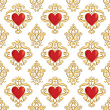 Seamless Damask Pattern With B...