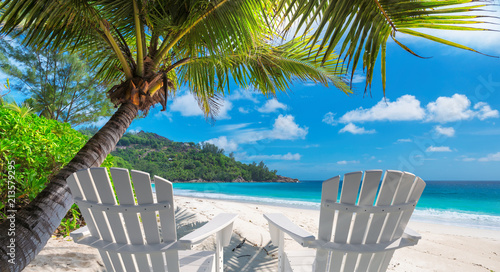 obraz lub plakat Beach chairs on sandy beach with palm and turquoise sea. Summer vacation and travel concept.