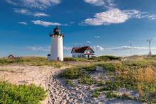 Lighthouse Point On Beach Dunes, Race Point Light Lighthouse In Cape Code, New England, Massachusetts, USA.