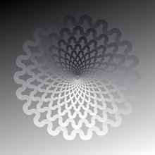 Abstract Waves Flower In Silver Shades
