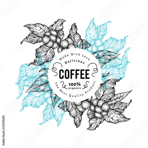 Plakaty do kawiarni coffee-tree-vector-illustration-vintage-coffee-background-hand-drawn-engraved-style-illustration