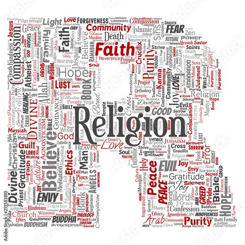 Vector conceptual religion, god, faith, spirituality letter
