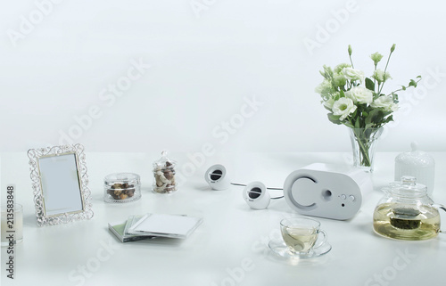 Music and relaxing equipment set on white background with