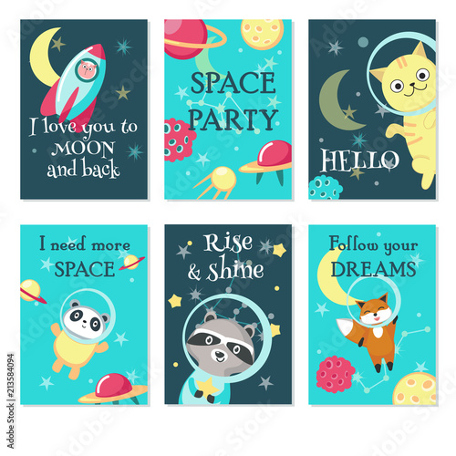 Space party invitation card vector template set Canvas Print