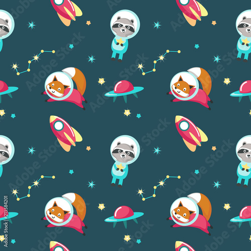 Photo Cute animals in cosmos vector seamless pattern