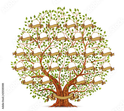 Family Tree template vintage illustration Canvas Print