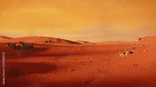 Rouge traffic landscape on planet Mars, scenic desert scene on the red planet