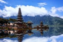 Pura Ulun Danu Bratan Temple In Bali.The Landmark Of Bali, Indonesia.