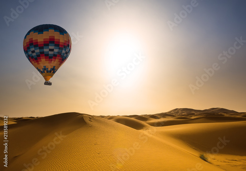 Desert and hot air balloon Landscape at Sunrise