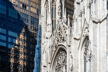 Detail Of Facade St Patrick Cathedral Of New York