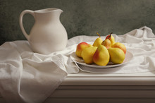 Still Life With Pears On Woode...