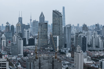 Modern skyscrapers in central district of Shanghai city