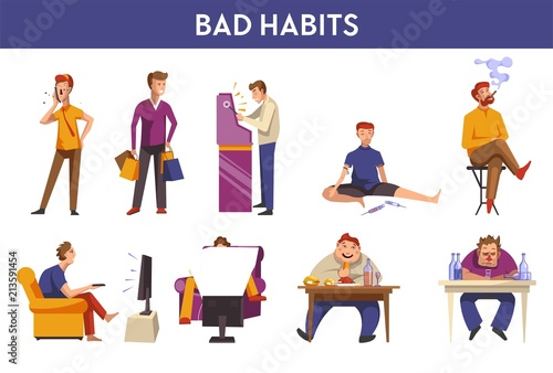 People bad habits and behavior vector icons Wallpaper Mural