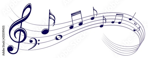 Symbol with music notes. - 213591455
