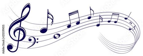 Symbol with music notes. Billede på lærred