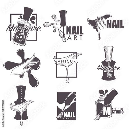 Fotografía Manicure and nail spa vector sketch icons