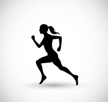 Woman Running Vector