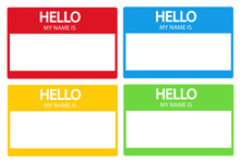 Hello, My Name Is Introduction Flat Label Set