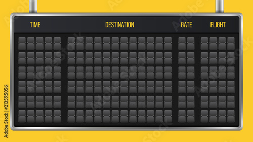 Creative vector illustration of realistic flip scoreboard, arrival airport board with alphabet, numbers isolated on transparent background Canvas Print