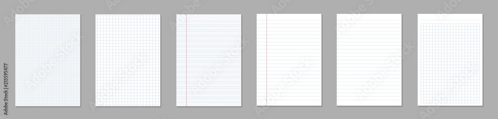 Fototapety, obrazy: Creative vector illustration of realistic square, lined paper blank sheets set isolated on transparent background. Art design lines, grid page notebook with margin. Abstract concept graphic element