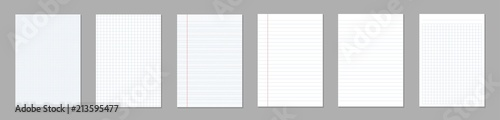 Fotomural  Creative vector illustration of realistic square, lined paper blank sheets set isolated on transparent background