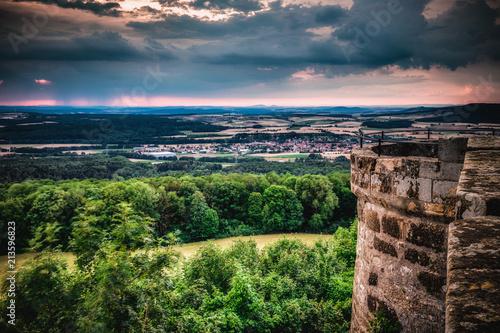 Fotobehang Cappuccino Giechburg Castle Ruin in Bavaria, Germany, high dynamic range image