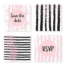 Wedding Glitter Confetti On Stripes. Invitation Set. Pink Hearts And Dots On Black And Pink Background. Design With Wedding Glitter For Party, Event, Bridal Shower, Save The Date Card.
