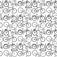 Vintage Retro Bicycle And Style Antique Sport Old Fashion Grunge Flat Pedal Ride Vector Riding Bike Transport Seamless Pattern Background Illustration.
