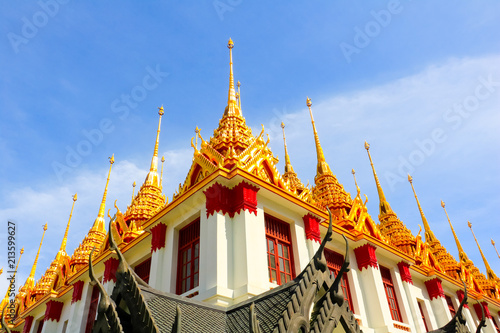 Tuinposter Bedehuis Roof temple on blue sky in Thailand. Temple name Wat Ratchanadda in Bangkok.