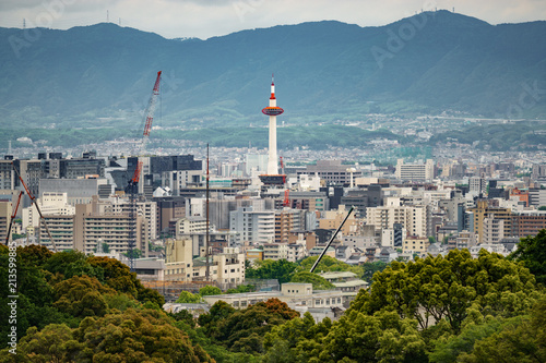 Poster Kyoto Kyoto city with tower and mountain range