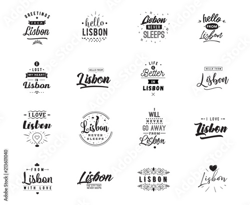 Greeting cards, vector design. Isolated logos. Typography set. Wallpaper Mural