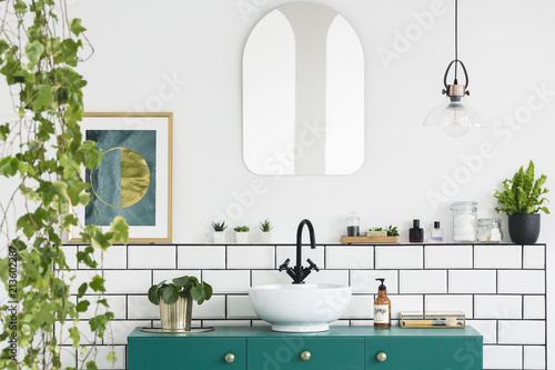 Mirror on white wall above green washbasin in bathroom interior with plants and poster Tablou Canvas