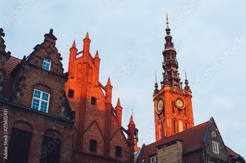 Foto op Aluminium Centraal Europa Old Town buildings in Gdansk during sunrise.