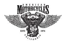 Vintage Monochrome Motorcycle Emblem