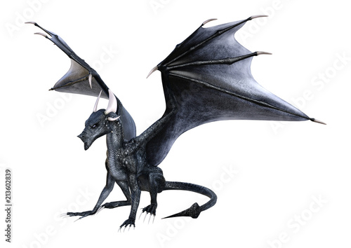 Recess Fitting Dragons 3D Rendering Fantasy Dragon on White