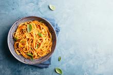 Italian Pasta With Tomato Sauce In Bowl