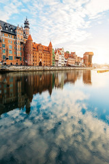 Old building in Old Town, Gdansk, and Motlawa river