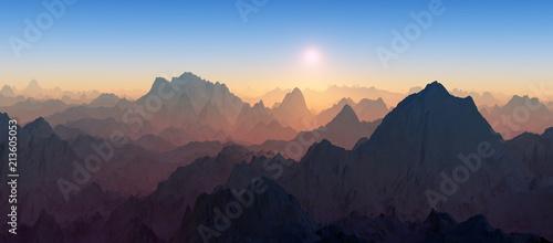 Fotografie, Obraz  panoramic image of a barren mountain range during sunrise