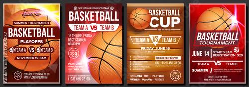 Fotografia  Basketball Poster Set Vector