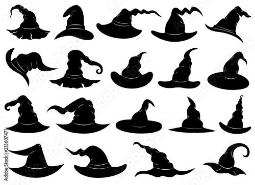 Obraz Illustration of different witch hats isolated on white - fototapety do salonu