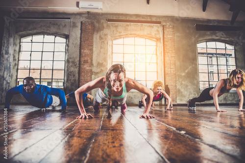 Keuken foto achterwand Ontspanning Workout in a fitness gym