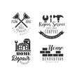 Set of logos for repair services. Black and white vector emblems with working instruments, buildings and brick wall. House renovation company