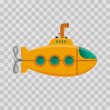 Yellow Submarine With Periscop...
