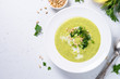 canvas print picture Zucchini Cream soup on white.