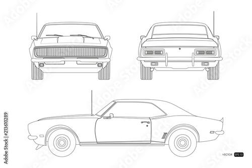 Blueprint of retro car Canvas Print