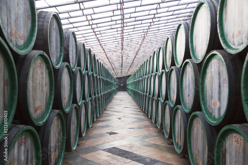 Oak barrels with the wine Poster