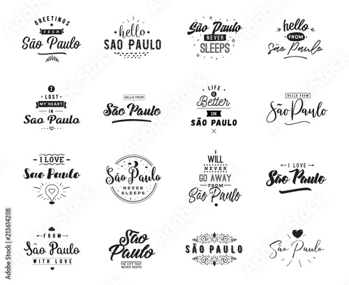 Fotografie, Tablou  Greeting cards, vector design. Isolated logos. Typography set.