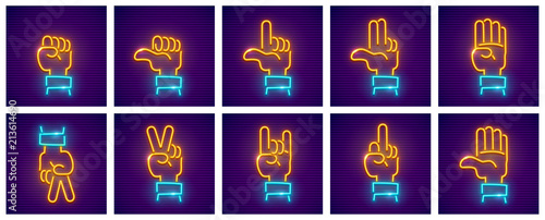Fényképezés Set of hand gestures. Neon icons with fingers for gesticulation.