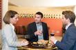 business people meeting in modern restaurant